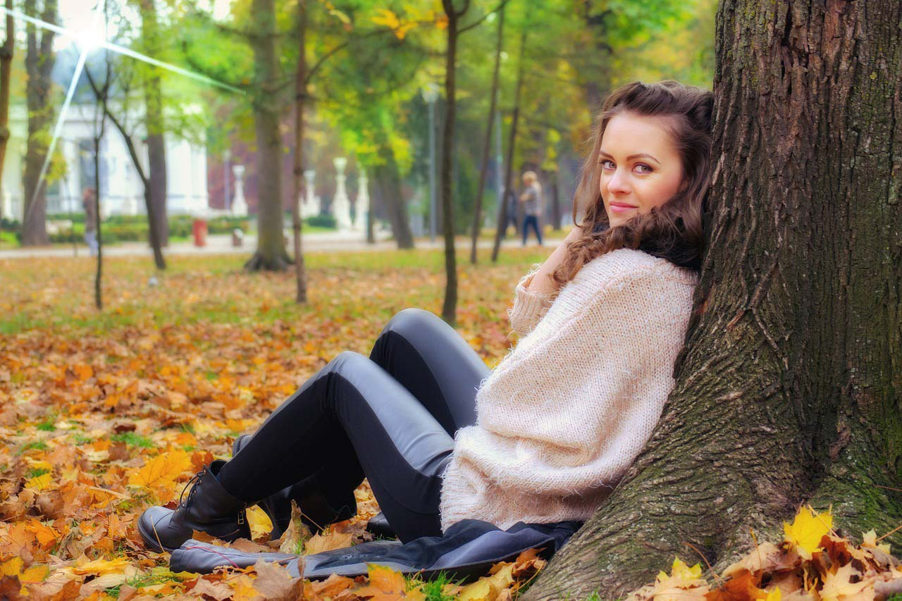 girl lying down in the park